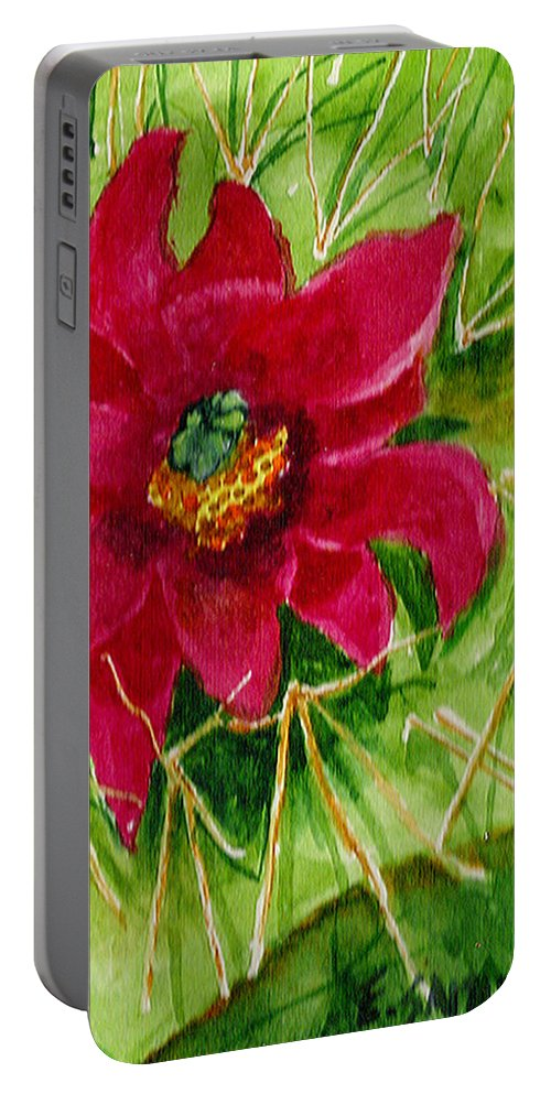 Red Portable Battery Charger featuring the painting Red Prickly Pear by Eric Samuelson