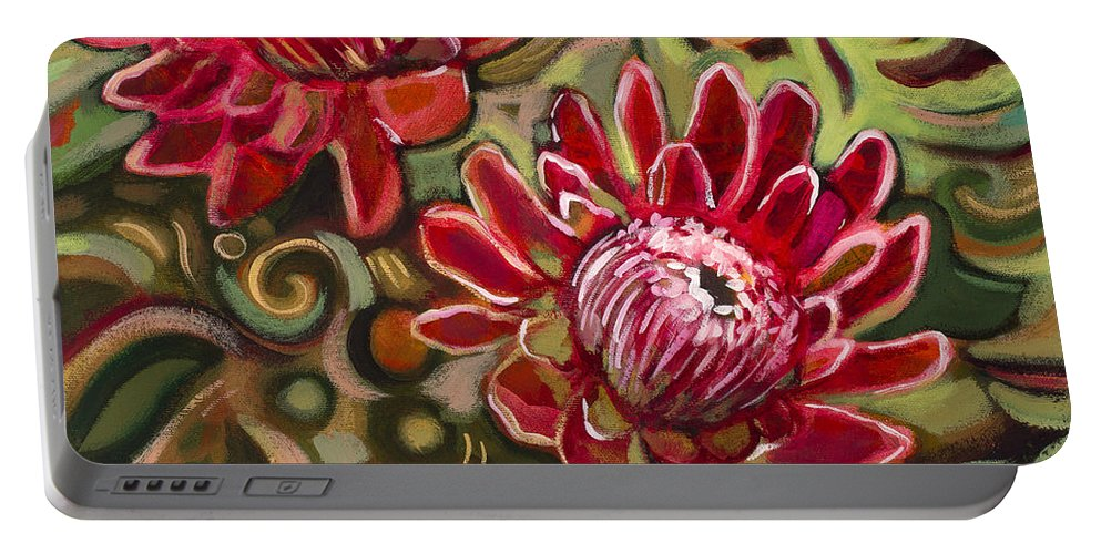 Jen Norton Portable Battery Charger featuring the painting Red Proteas by Jen Norton