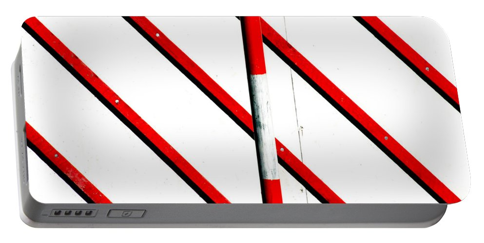 Areyarey Portable Battery Charger featuring the photograph Red Red Line by A Rey