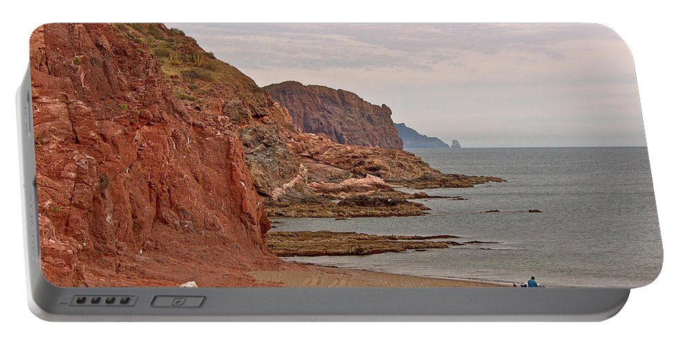 Red Rock By Sea Of Cortez In San Carlos Portable Battery Charger featuring the photograph Red Rock By Sea Of Cortez From San Carlos-sonora by Ruth Hager