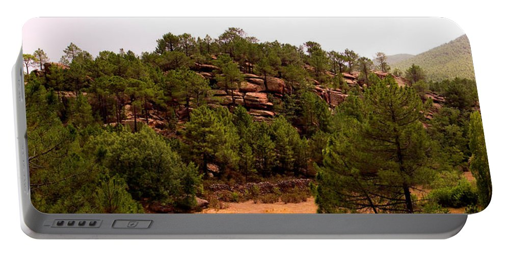 Red Rock Portable Battery Charger featuring the photograph Red Rock Green Forest No3 by Weston Westmoreland