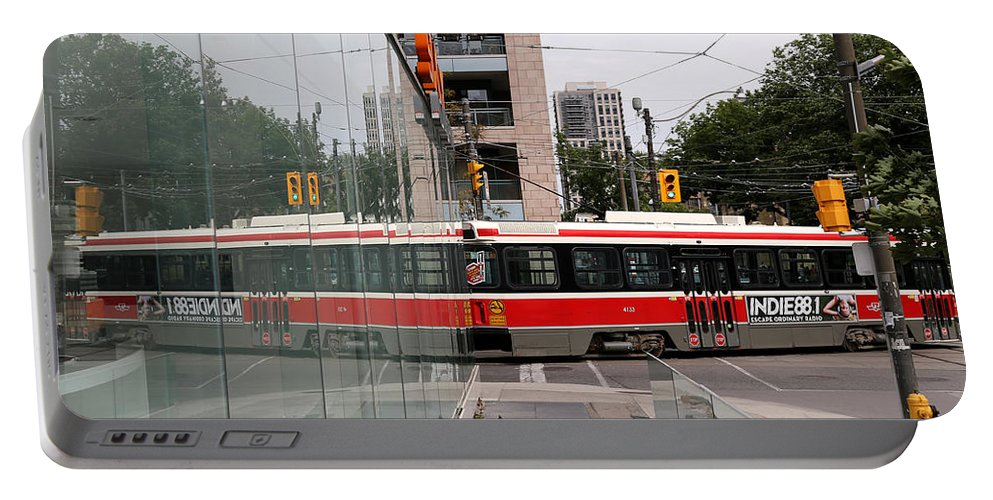 Streetcar Portable Battery Charger featuring the photograph Red Rocket 37 by Andrew Fare