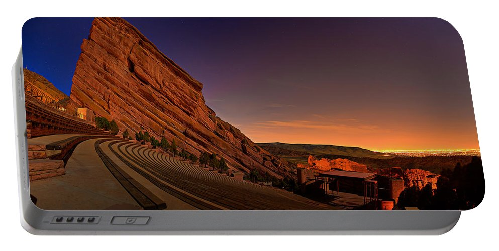 Night Portable Battery Charger featuring the photograph Red Rocks Amphitheatre At Night by James O Thompson