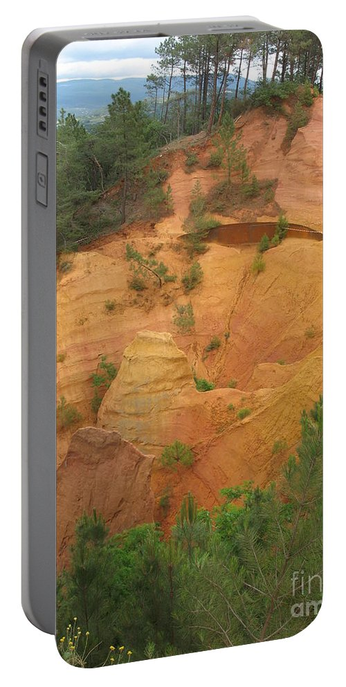 Red Rocks Portable Battery Charger featuring the photograph Red Rocks Of Roussillon by Christiane Schulze Art And Photography