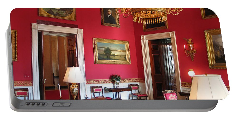White House Portable Battery Charger featuring the photograph Red Room White House by Jason O Watson