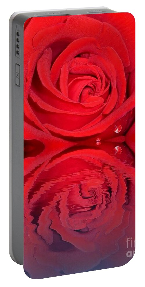 Red Rose Reflects Portable Battery Charger featuring the photograph Red Rose Reflects by Susan Garren