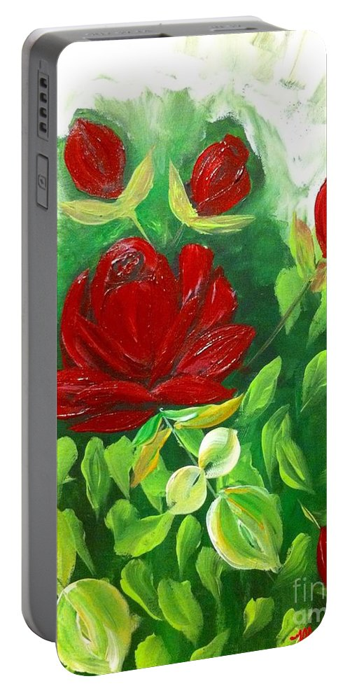 Read Portable Battery Charger featuring the painting Red Roses From The Garden by Saundra Myles