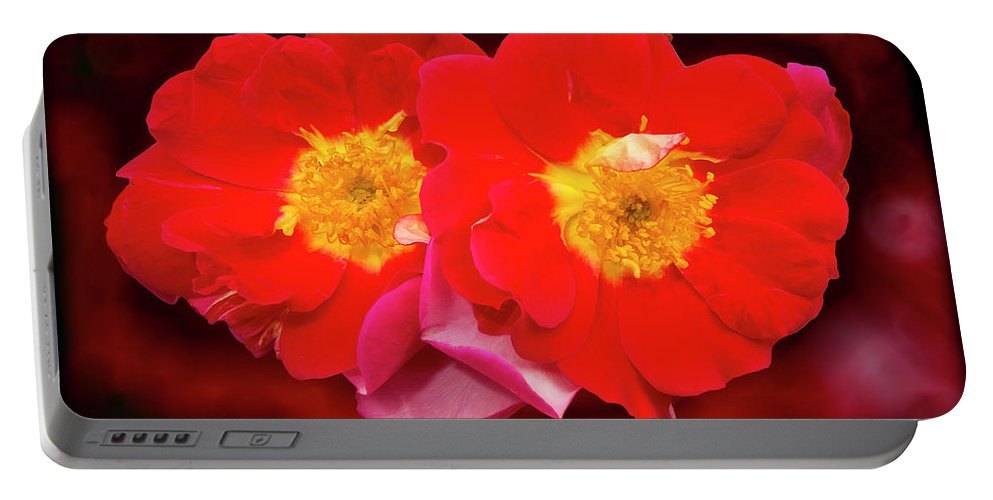 Red Portable Battery Charger featuring the photograph Red Roses Heart by Angela Stanton