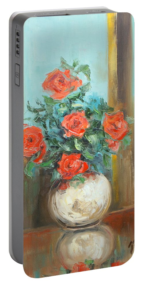 Rose Portable Battery Charger featuring the painting Red Roses by Luke Karcz