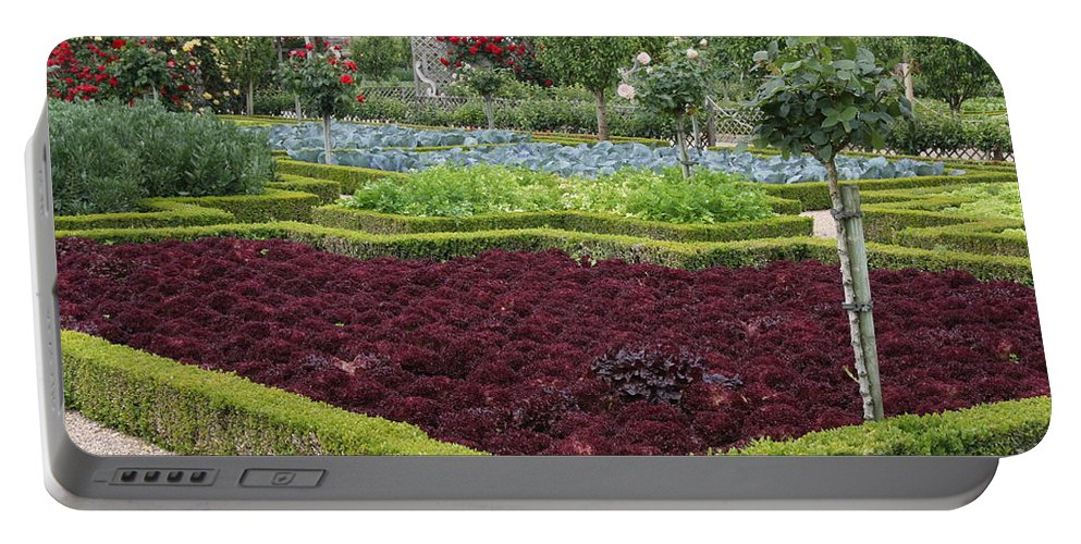 Salad Portable Battery Charger featuring the photograph Red Salad And Roses - Chateau Villandry Garden by Christiane Schulze Art And Photography