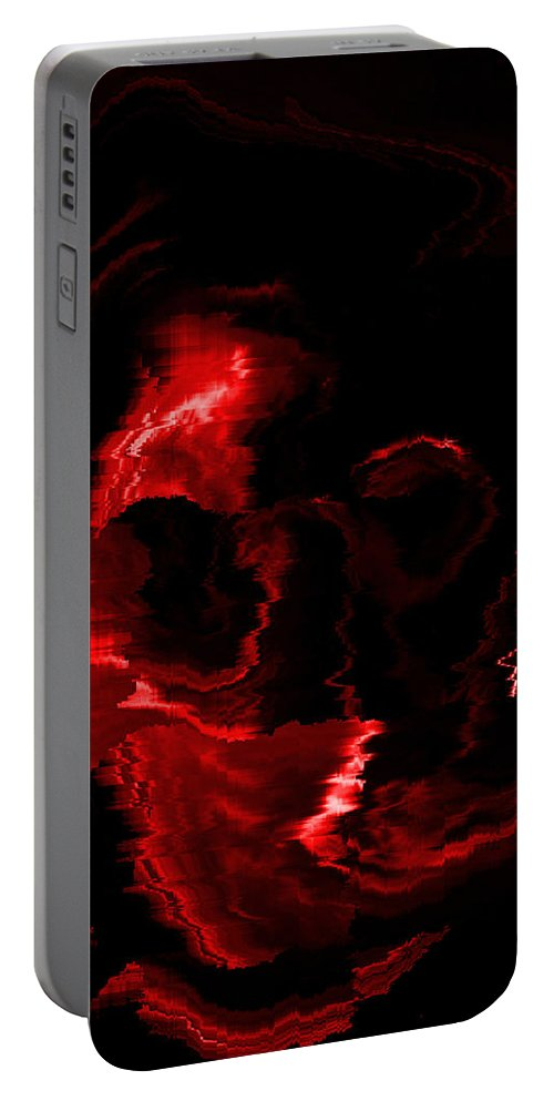 Red Portable Battery Charger featuring the digital art Red Skull by Mechala Matthews