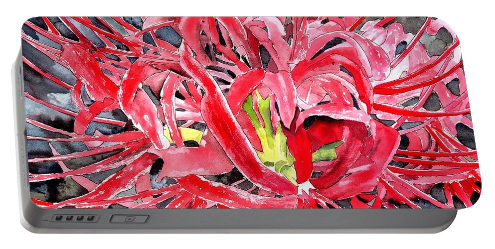 Watercolor Portable Battery Charger featuring the painting Red Spider Lily Flower Painting by Derek Mccrea
