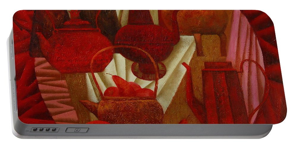 Still Life Portable Battery Charger featuring the painting Red Still Life by Nadia Egorova