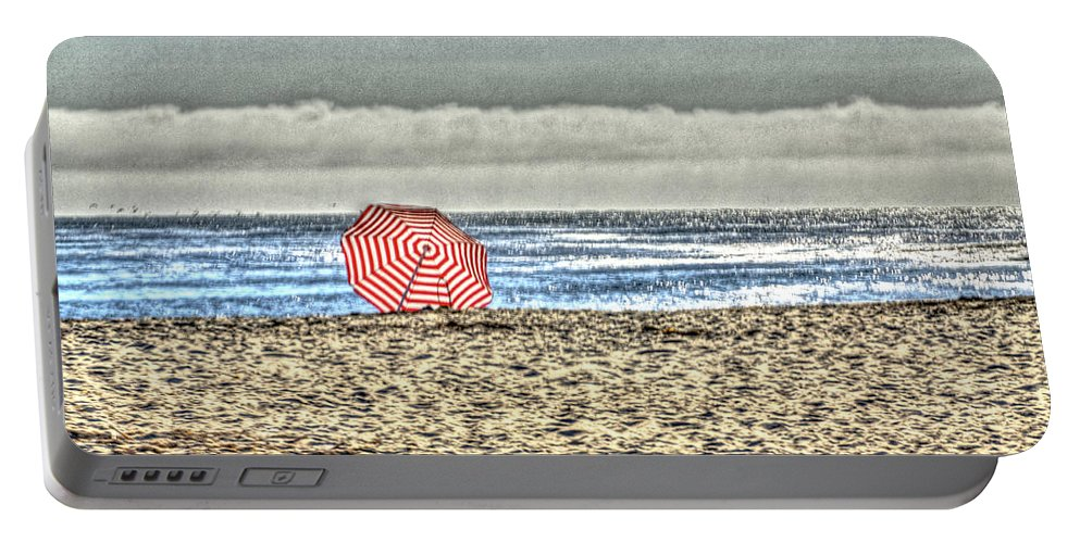 Beach Portable Battery Charger featuring the photograph Red Striped Umbrella At The Beach by SC Heffner