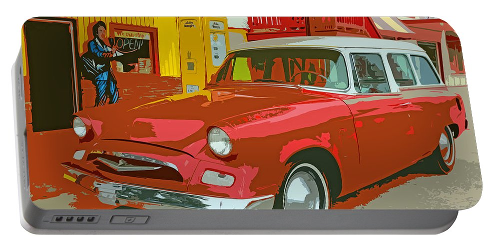 Red Portable Battery Charger featuring the photograph Red Studebaker by Lynn Sprowl