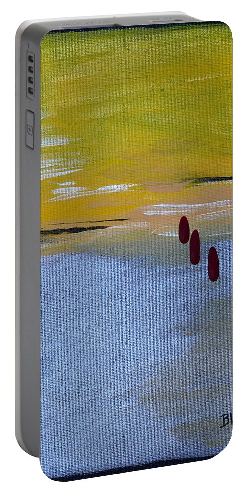 Tears Portable Battery Charger featuring the painting Red Tears by Donna Blackhall