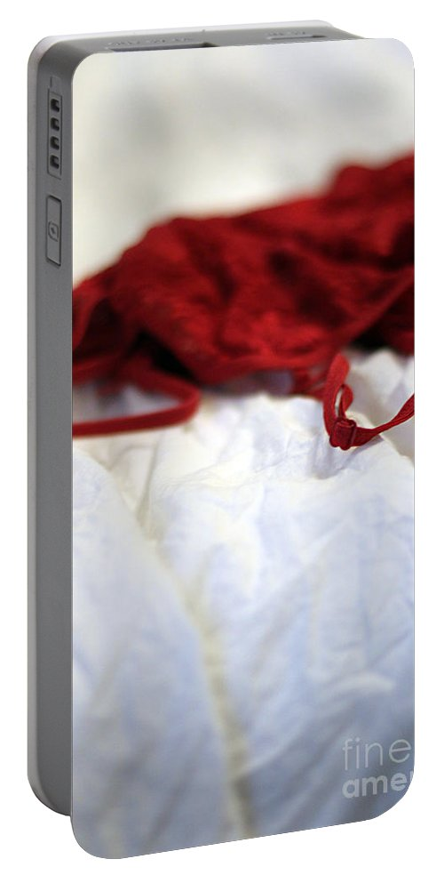 Lingerie Portable Battery Charger featuring the photograph Red by Trish Mistric