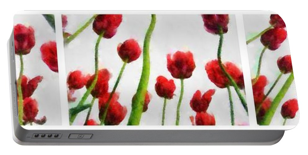 Hollander Portable Battery Charger featuring the photograph Red Tulips From The Bottom Up Triptych by Michelle Calkins