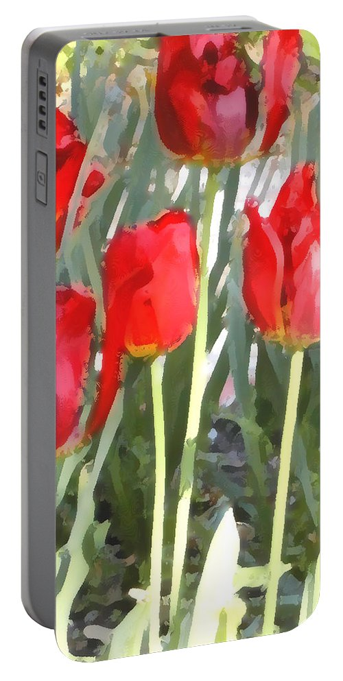 Red Tulips Portable Battery Charger featuring the photograph Red Tulips by Jeanne A Martin