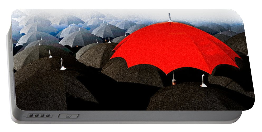 Umbrella Portable Battery Charger featuring the digital art Red Umbrella In The City by Bob Orsillo