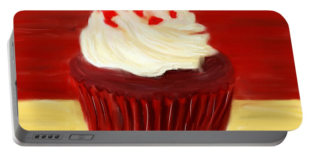 Cupcakes Portable Battery Charger featuring the digital art Red Velvet by Lourry Legarde