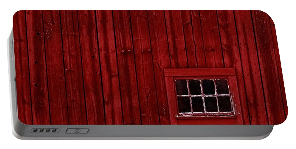 Portable Battery Charger featuring the photograph Red Window by Jeff Klingler