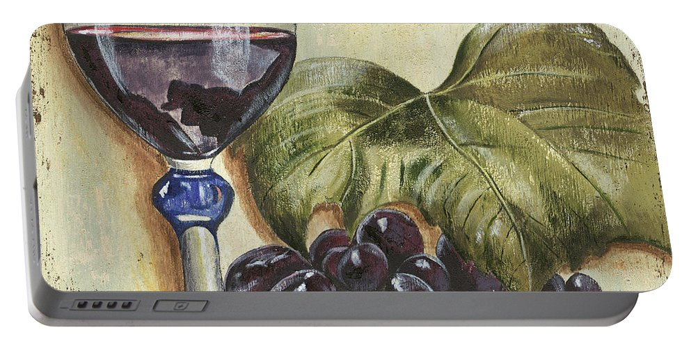 Wine Portable Battery Charger featuring the painting Red Wine And Grape Leaf by Debbie DeWitt
