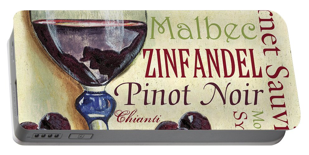 Wine Portable Battery Charger featuring the painting Red Wine Text by Debbie DeWitt