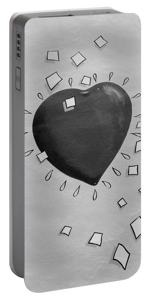 Heart Portable Battery Charger featuring the photograph Redheart In Black And White2 by Rob Hans