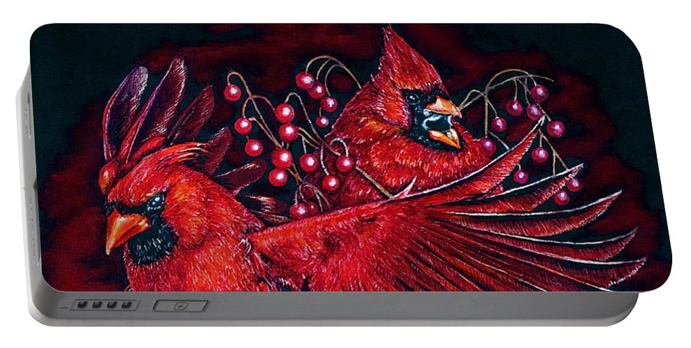 Linda Simon Portable Battery Charger featuring the painting Reds by Linda Simon