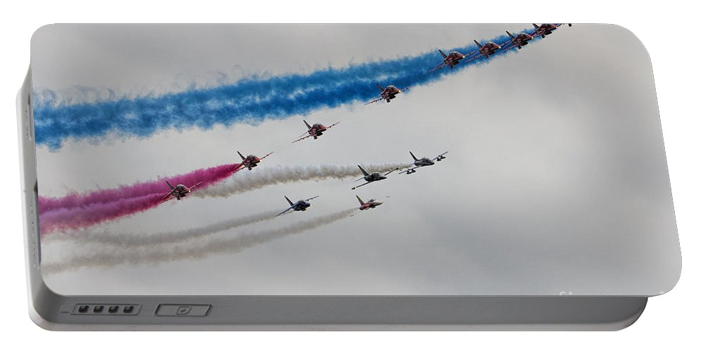 Red Arrows Portable Battery Charger featuring the photograph Reds Pit Day by J Biggadike