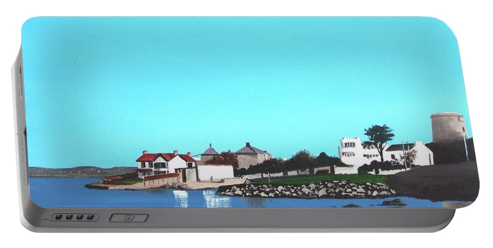 Sandycove Portable Battery Charger featuring the painting Reflections At Sandycove by Tony Gunning