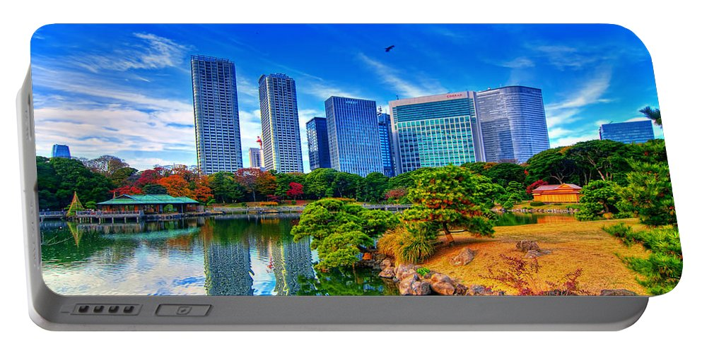 Hamarikyu Portable Battery Charger featuring the photograph Reflection In Blues by Midori Chan