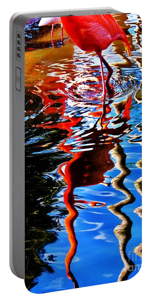 Bird Portable Battery Charger featuring the photograph Reflection Of A Flamingo 1 by Chuck Hicks