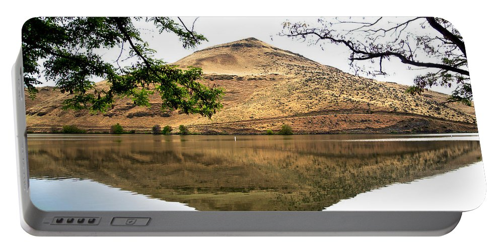 Reflection Of Butte Portable Battery Charger featuring the photograph Reflection Of Butte Across From Lepage Rv Park Into Columbia River-oregon by Ruth Hager