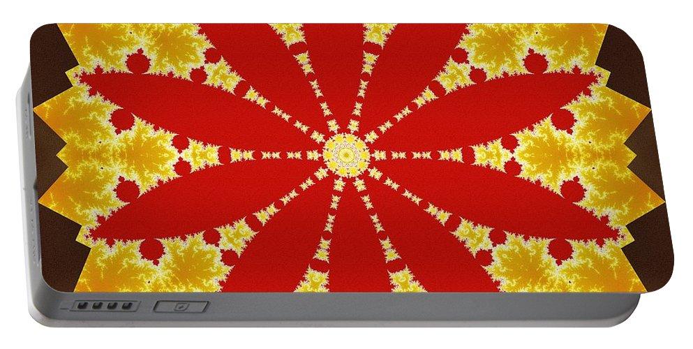 Sacredlife Mandalas Portable Battery Charger featuring the digital art Reflection Of Fire by Derek Gedney
