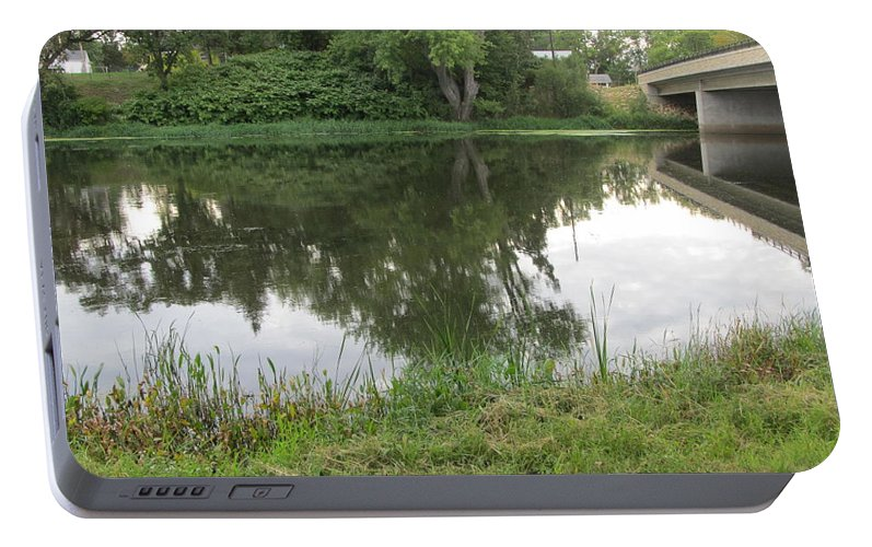 River Portable Battery Charger featuring the painting Reflection Of Life by Robert Nacke