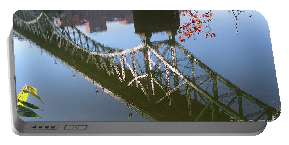 Gay Street Portable Battery Charger featuring the photograph Reflection Of The Gay Street Bridge by Douglas Stucky