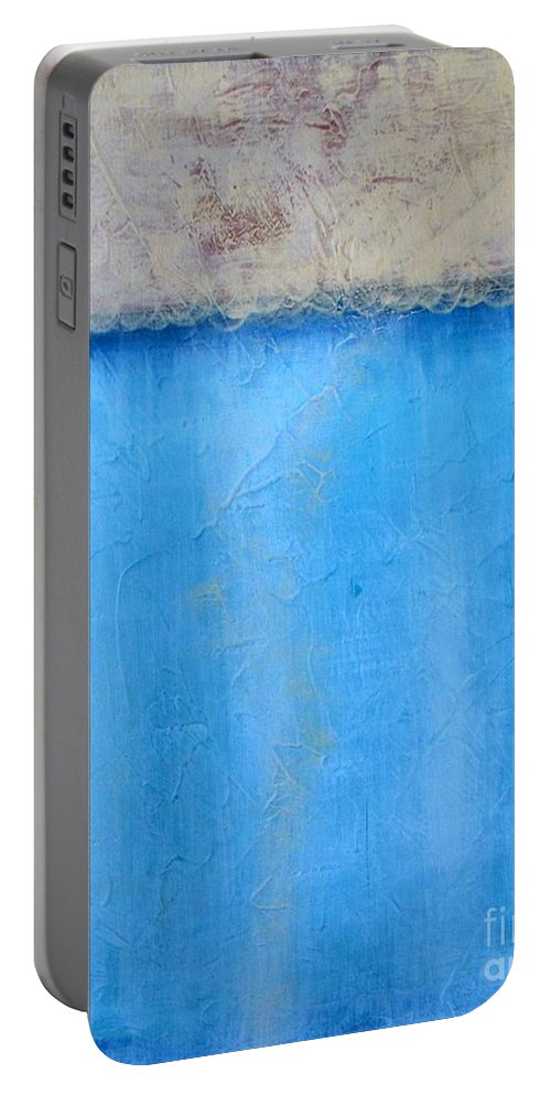 Abstract Portable Battery Charger featuring the painting Reflection by Vesna Antic