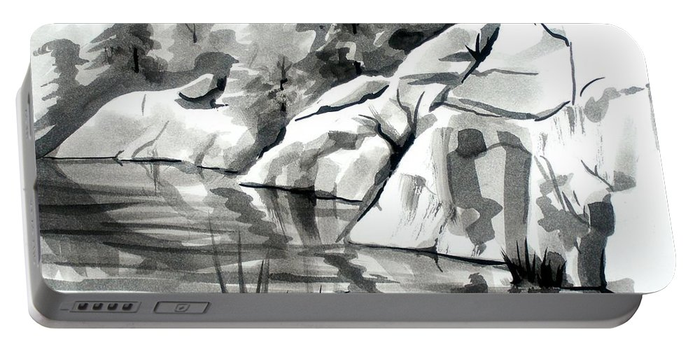 Reflections At Elephant Rocks State Park No I102 Portable Battery Charger featuring the painting Reflections At Elephant Rocks State Park No I102 by Kip DeVore