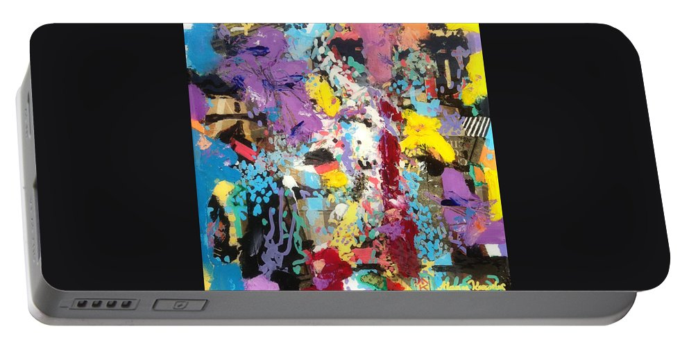 Abstract Portable Battery Charger featuring the painting Reflections by Atanas Karpeles