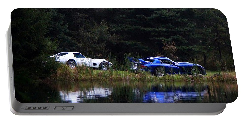 Cars Portable Battery Charger featuring the photograph Reflections by Davandra Cribbie