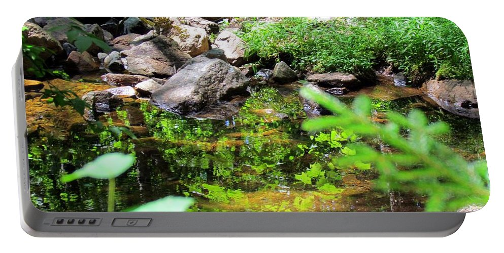 Reflections Portable Battery Charger featuring the photograph Reflections In The Stream by Elizabeth Dow