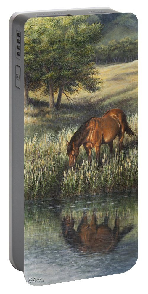 Horse Portable Battery Charger featuring the painting Reflections by Kim Lockman