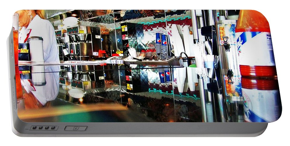 Diner Portable Battery Charger featuring the photograph Reflections Of A Diner 3 by Chuck Hicks