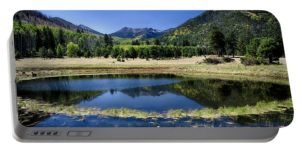 Fall Portable Battery Charger featuring the photograph Reflections Of Blue by Saija Lehtonen