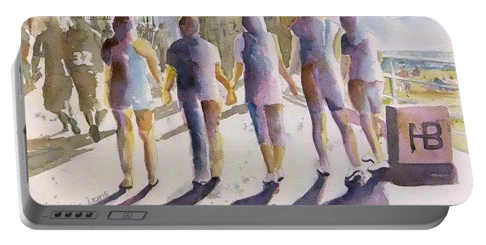 People Portable Battery Charger featuring the painting Reflections Of Friendship by Debbie Lewis
