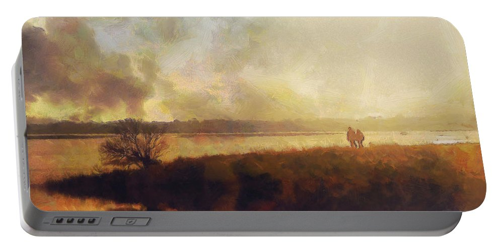 Impressionist Portable Battery Charger featuring the painting Reflections by Pixel Chimp