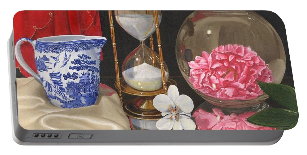 Still Life Portable Battery Charger featuring the painting Reflections by Richard Harpum