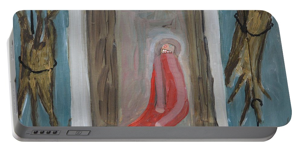 Abstract Modern Outsider Raw Trees Figure Throne Sit Sitting Refrigerator Rock King Seat Portable Battery Charger featuring the painting Refrigerator Rock And The King by Nancy Mauerman
